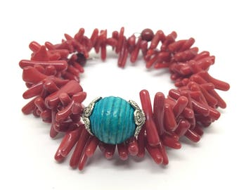 Beaded Bamboo Red Coral and Wood Wrap Bracelet
