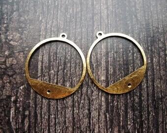 Textured Bright Brass Hoop Findings - 1 pair - 23mm