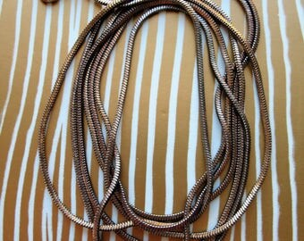 """Stainless Steel Rainbow Patina Snake Chain Necklace  4"""" in length"""
