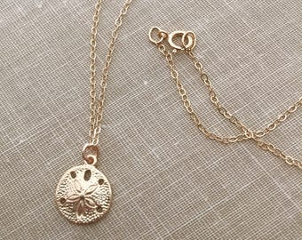 Gold Vermeil Sand Dollar Charm Necklace with 14K Gold-fill chain
