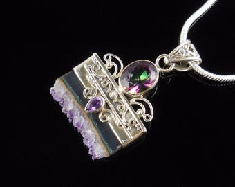 Amethyst & rainbow topaz sterling silver pendant/necklace