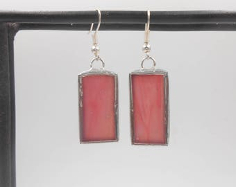 Pink Semi-Transparent Stained Glass Handmade lightweight earrings ooak