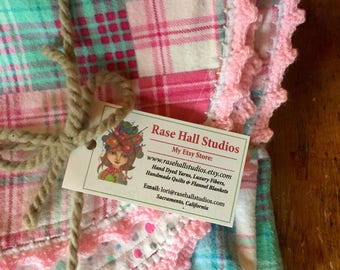 Soft Flannel Reversible Baby Blanket Receiving Blanket Baby Shower Gift Pink and Teal Plaid with Polka Dots