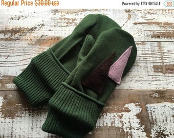 MEMORIAL DAY SALE- Wool Blend Mittens- Christmas Tree-Upcycled Clothing-Green and Purple