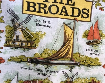 SALE- Vintage Tea Towel-Calendar-The Broads-1984