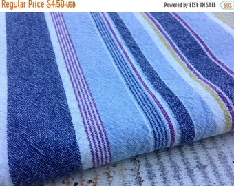40% OFF- Striped Cotton Fabric-Recycled Tablecloth Fabric-Blue and Green