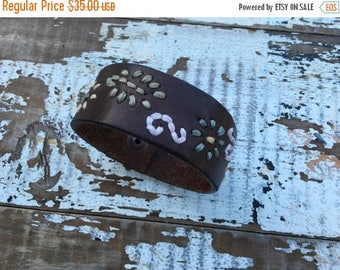 CRAZY SALE- Custom Leather Cuff-Create Your Own--Word Cuff-Floral