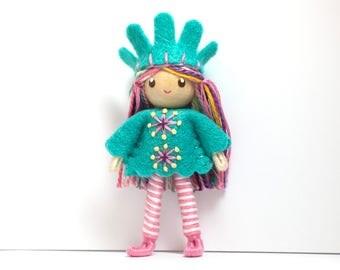 Bendy Doll- Princess Doll- Waldorf Bendable Felt Doll- Dollhouse Doll- Miniature Fairytale Princess- Small Doll- Child Friendly- Queen- Girl