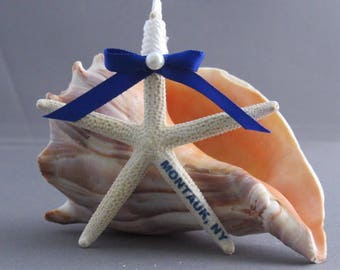 Personalized Starfish, Hanging Ornament, Choose your Ribbon Color, Genuine Starfish Ornament with Rope Hanger and a Bow with a Pearl