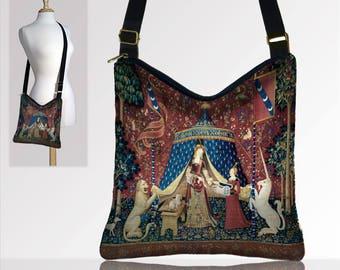 Bohemian Hippie Bag Hobo Purse Crossbody Bag Gyspy Boho Sack Bag Medieval Renaissance Faire Bag Lady and the Unicorn Red blue gold  teal MTO