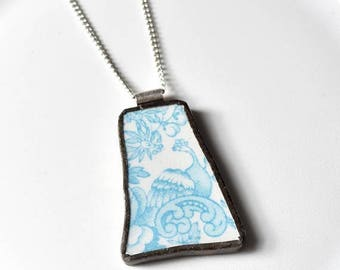 SUMMER SALE Broken China Jewelry Pendant - Blue Phoenix