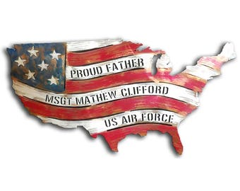 Personalized United States Map Memorial Day Independence Day July with Red White and Blue American Flag Metal Wall Art
