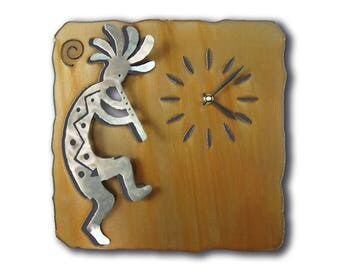 Flute Kokopelli Southwest Cutout Wall Clock - Brown Rust Finish