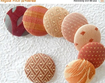 CLEARANCE - Rust wine peach buttons, fabric buttons, covered buttons, textured buttons, 1 7/8  inches, size 75 buttons