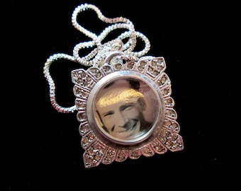 Vintage Sterling Silver Watch Locket Necklace