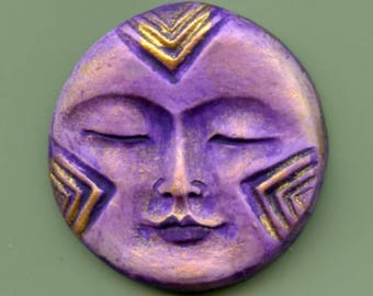 Polymer  Purple and Gold  Round Textured Face Cab PPC  1