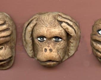 3 Monkeys in Brown  See Hear Speak No Evil Cabs   SHSM 1