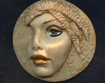Polymer Clay  3 Inch Large Golden Face  Medallion LAM 1