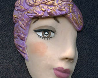 Face Shard  2 1/2 Inch Lavender textured Polymer Clay   LFSH 1