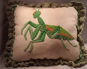 Praying Mantis Small Decorative Pillow with Crocheted Edging
