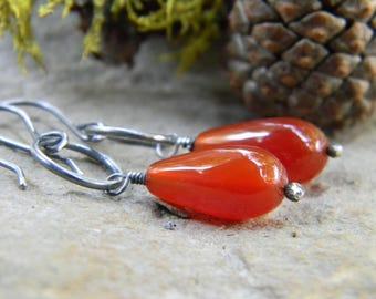 red onyx earrings - oxidized sterling silver - rustic, dangle earrings
