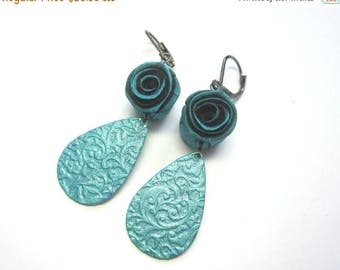 CIJ SALE Poly Clay Teal Rosette Dangle Earring Earrings. Teal Rose and Hand Painted Teardrop Brass Dangles. Under 50.