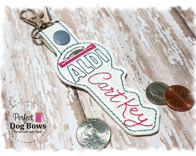 White Key Quarter Keeper , Key Coin Holder, White Cart Key, Quarter Holder, White Key Keychain