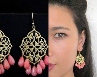 SALE Coral Gold Filigree Chandelier Earrings
