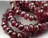 20% Clearance SALE Picasso Czech Glass Beads Czech Rondelle Beads 3x5mm Ruby Bronze Picasso - 30 pcs (G - 174)