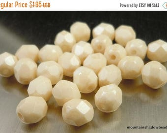 25% OFF Sale 6mm Czech Glass Beads Firepolished Faceted - Opaque Champagne Luster (G - 524)