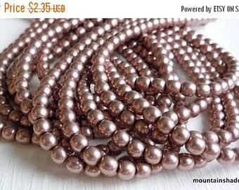 25% OFF Sale 4mm Czech Beads  - Czech Glass Beads - Metallic Pale Dogwood - Smooth Round - 50 pcs (G - 451)