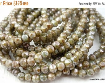 20% Summer SALE English Cut Beads - 3mm English Cut Nugget Bead Antique Green Picasso Luster - 50 (G - 122)