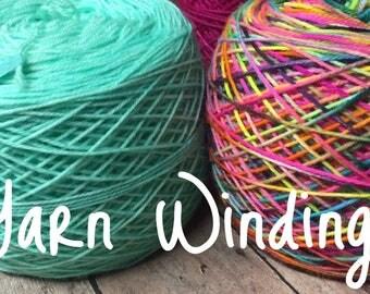 Yarn Winding - Yarn Cake - Skein to Ball