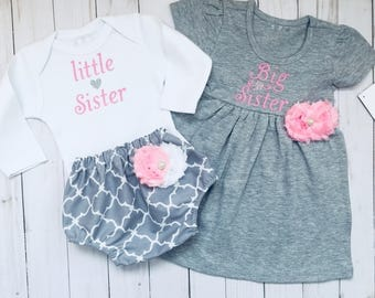 Big Sister Little Sister OUTFITS .. Shabby chic Pink and grey dress and diaper cover onesie -sister Set..new baby..baby shower