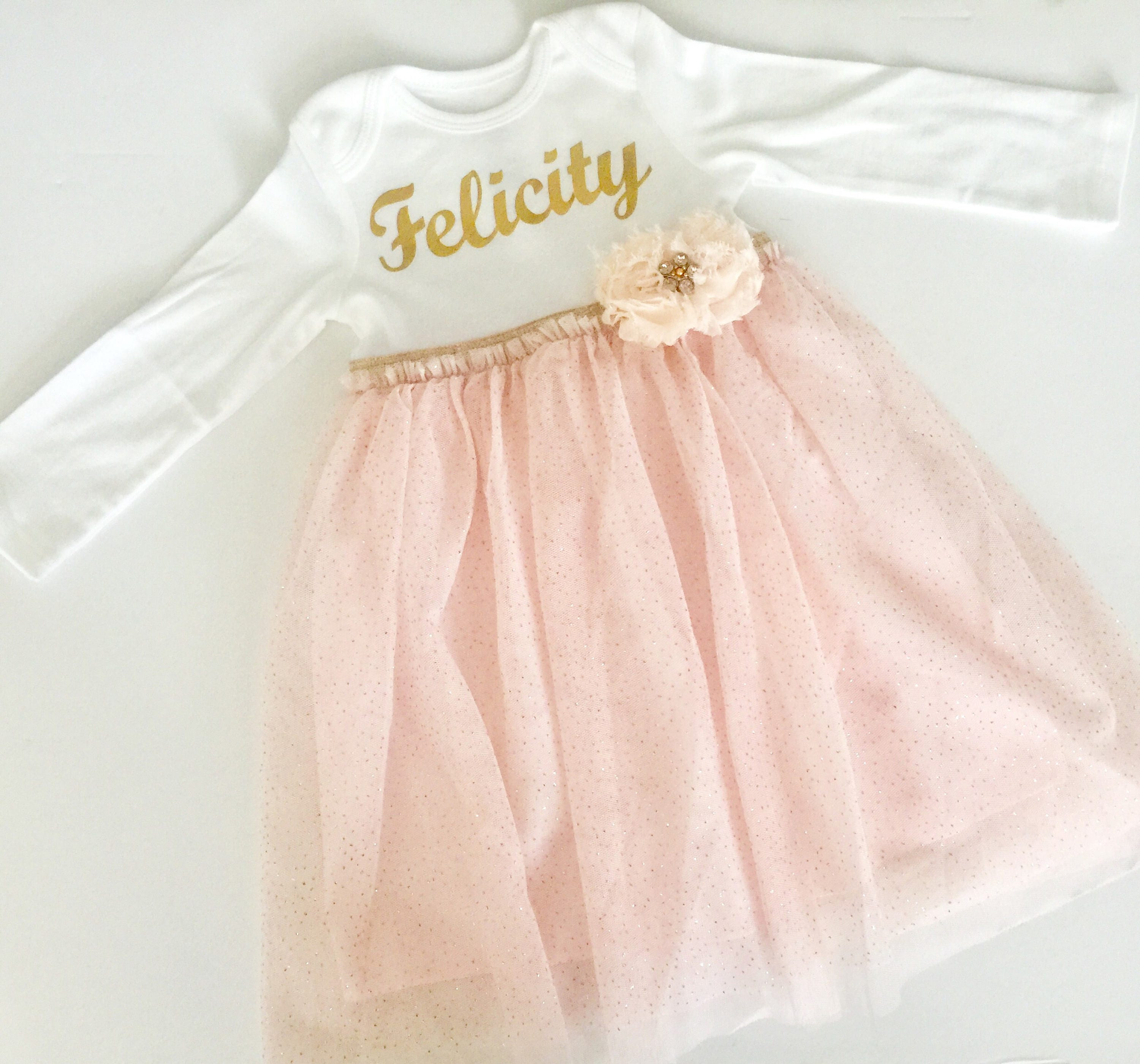 Shabby chic personalized baby GOWN in cream peach and gold new