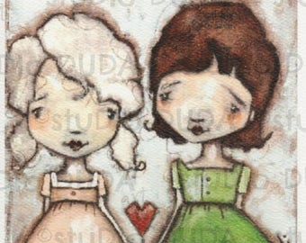Print of my Original Whimsical Sister Friend Mixed Media Painting - Comforting
