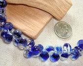UNICORNE  Beads - 25 TEARDROP 8mm x 6mm Borosilicate Beads in BLUE