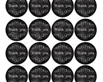 Printable Thank You Stickers - Circle Chalkboard 4.5cm, A4