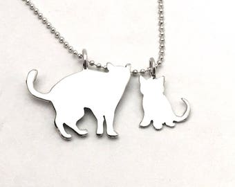 Mama Cat & Kitten Pendants made from Vintage Silver US Half Dollar, Dime Coins