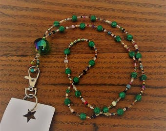 Green Malachite and Rainbow seed beads Beaded ID Badge Holder Lanyard Bead Necklace or for Glasses