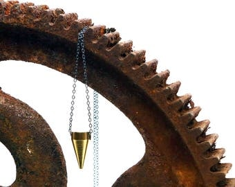 Geometric Mini Spike Necklace - Brass and Dark Silver Geometric Necklace - Handmade by Queens Metal