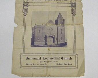 1926 Ephemera Church Bulletin Confirmation Service / Immanuel Evangelical Church / Buffalo NY / Black Rock Neighbornood