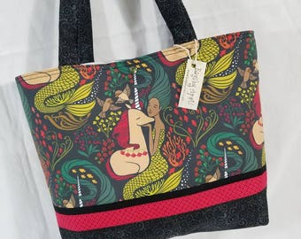 Mermaid and Unicorns Black and Red Bags by April tote bag So Lovely!