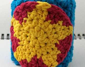Crocheted Coffee or Ice Cream Cozy in Aqua Cotton with Dark Pink and Yellow Star Pocket with Yellow Button (SWG-F07)