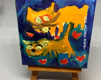 FUNKY Original One of A Kind Folk Outsider Art  Brut  Tiny  Miniature Cats Cat  Painting with stand