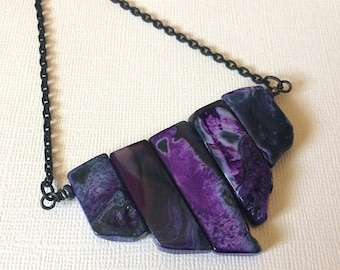 SUMMER SALE Purple Agate Necklace on Matte Black Cable Chain