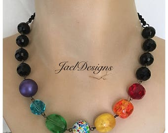 Rainbow Vintage Bead Statement Necklace - Upcycled Spatter Bead Earring - OOAK