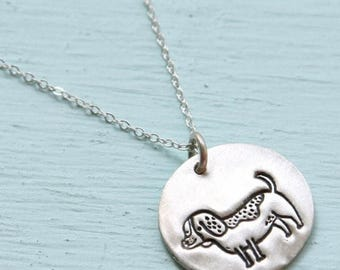 ON SALE ON Sale Beagle dog silver pendant - illustration by Gemma Correll - handmade sterling silver necklace by Chocolate and Steel