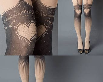 ON SALE/// Tattoo Tights, Burlesque Heart garters print Nude thigh highs illusion one size full length printed tights pantyhose, by tattoo s
