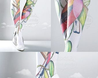 ON SALE/// Tattoo Tights, Paradise white Closed Toe one size full length printed tights, pantyhose, nylons, tattoo socks